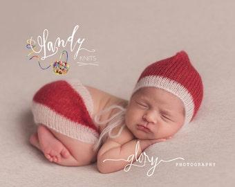 Newborn Santa set, hat and skirt, Christmas photo prop, delicate knit