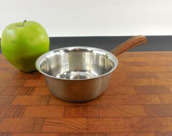 Gustav Denmark - Butter Syrup Sauce Warmer Pot Saucepan - 18-8 Stainless Copper - Rosewood Mid Century