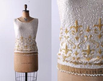 1960 fleur-de-lis top. 60's beaded gold blouse. sleeveless. wool. cream sequin. 60 m.