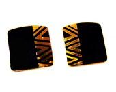 "Black and Gold Tone Vintage Laurel Burch Pierced  Earrings ""NAITO"" - Enamel Finish"