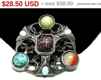 Celtic Outlander Style Brooch - Designer Signed Miracle with Art Glass and Gemstones - Round Vintage Pin
