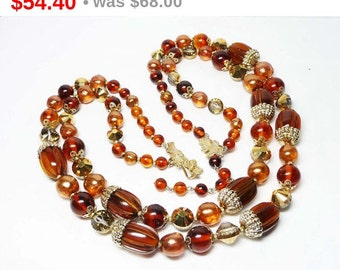 Vintage Vendome Necklace - Multistrand Brown Bead Necklace - Double Stranded - Two Strand