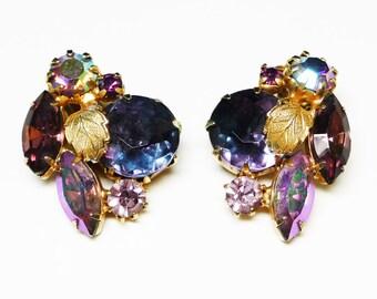 Vintage Rhinestone Earrings - Shades of Purples with Leaf Embellishments Beautiful Bling!