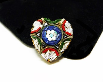 Mosaic Heart Brooch - Made in Italy - Red, Blue, Gree flowers - Vintage European Jewelry