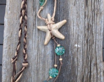 Bohemian Starfish handmade ceramic necklace
