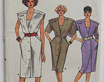 RARE Vintage 80's Misses' Dress Vogue 9581 Sewing Pattern UNCUT Sizes 8-10-12