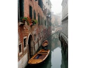 """Fine Art Color Photography of Venice  - """"Morning Mist On a Narrow Canal"""""""