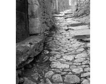 "Fine Art Black & White Photography of Medieval Village in France - ""Ascent in Beynac"""