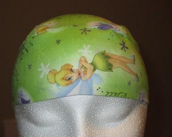 Green Tinkerbell Chemo Cap, Skull Cap, Hat, Handmade, Head Cover, Bald, Hair loss, Do Rag, Children, Helmet liner, Surgical Cap, Alopecia