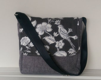 SALE Messenger: Linen and Black and White Bird