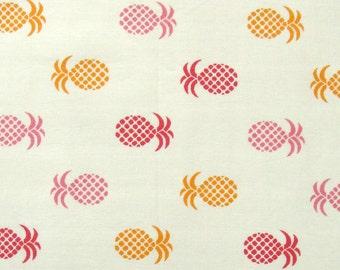 orange and pink pineapples on white - Cotton Fabric Print - 1 yard - ctnp310