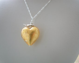 Chunky Gold Murano Heart necklace
