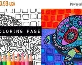 25% Off - Turtle coloring, animal coloring book, adult coloring book, coloring pages, adult art, coloring book for adults, printable colorin