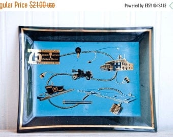 General Motors Packard Electric 75 Anniversary Glass Ashtray, Live Wire Division, Vintage Teal and Black, Black and Gold, Mad Men Style,