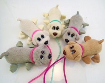 Galoob Pound Puppies Wiggle Wag Puppy Dog Lot of 5 Mini Plush Tug Along Pull Specialty Rare Vintage Miniature Mini Tiny Farm Animal 90s