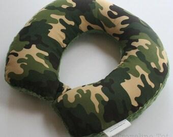 Child Travel Neck Pillow - Woodland Camo w/ Olive Green Minky