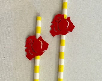 Beauty and the Beast Party Decor - Rose Paper Straws - Belle Party Straws - Princess Belle Party - Flower Paper Straws - Princess Party