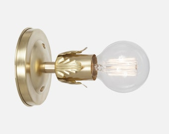 Brass Wall Sconce Light - Vintage Style Wall Sconce Lighting - Hardwire or Plug In Wall Sconce - Flush Mount Bathroom Light - Kitchen Light