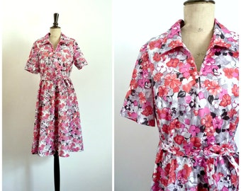 Vintage 70's Dress Floral Pink Shades / Small to Medium