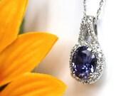 FEBRUARY SALE  Tanzanite halo pendant, brida pendant, purple stone halo necklace for bridesmaids