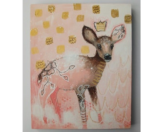 folk art Original deer painting whimsical boho mixed media art painting on wood panel 8x10 inches - Someday I'll be Queen
