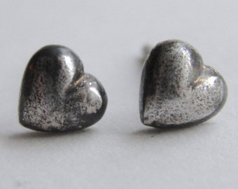 Small Heart Stud Earrings - Tiny Silver Heart, Post, Sterling Silver, Oxidized, Love