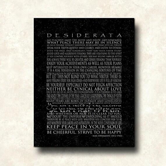 Contemporary DESIDERATA Black Print - Black Black - Cafe Mount 11 x 14 Inspirational