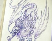 Smaugust - The Rotten Crystal Dragon- Dragon Graphite Illustration ORIGINAL OOAK Art
