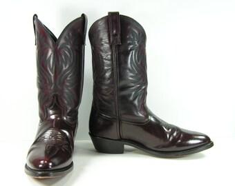 vintage cowboy boots mens 11.5 D burgandy leather western Laredo cordovan