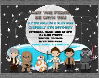 Galaxy Star Wars Pool Party Invitation Inspired  -Printable Digital File