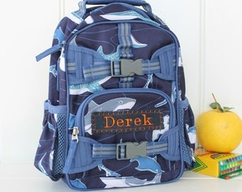 Mini Backpack Backpack Pottery Barn (Mini Size) -- Navy Multi Shark