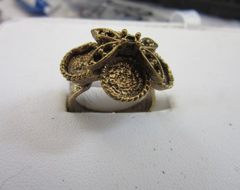 4 adjustable antiqued BRASS CLUSTER  RINGS needing 4 cabochons to glue, 6 - 7 1/2, finshed jewelry, costume rings,