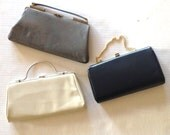 three vintage handbags, clutches 50s, 60s // gray, navy blue and cream // perfect for bridal party