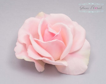 Blush Pink Rose Hair Clip. Real Touch Flowers. Caroline Rose Collection