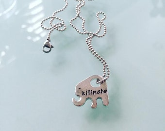 New-Cute Girls Personalized Elephant Charm Necklace Hand Stamped
