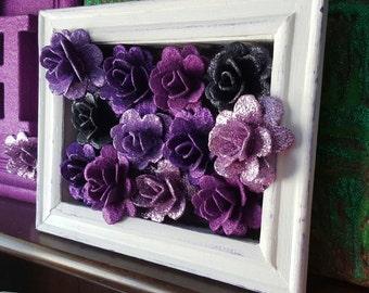 Purple Glitter Rose Art, Mixed Media Original Modern Artwork, Box Frame, UK Artist