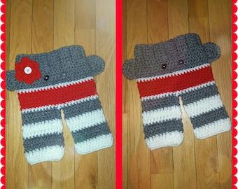 Baby boy sock monkey pants    Baby girl sock monkey pants    Crochet baby sock monkey pants    Sock Monkey