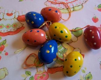 eight fun colorful polka dot eggs