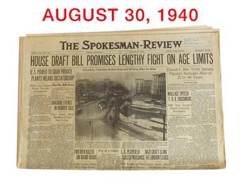 """August, 30, 1940 Newspaper - Spokane, WA Spokesman-Review """"World War Two News"""""""