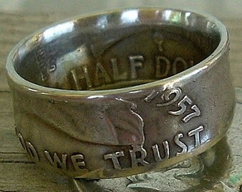1957 Franklin Half Dollar Coin Ring (90% Silver) Available in Sizes 8.5 through 11)