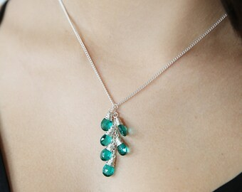 Apatite Quartz Lariat Necklace