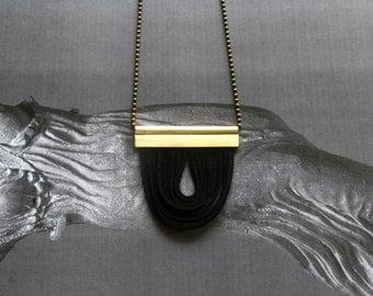 Contemporary Necklace-Modern Pendant Necklace-Leather and Brass Necklace-Leather Necklace-Brass Pandant Necklace-Modern Pendant Necklace