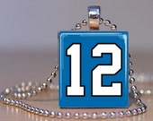 Number 12 Pendant made from an Upcycled Scrabble Tile for your 12th Man - or, rather, Woman - Seahawks fan