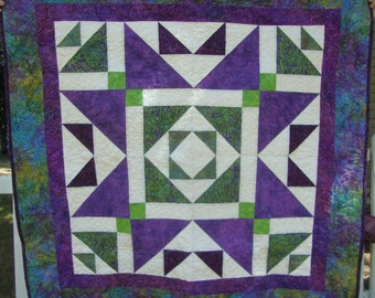 Quilted Table Topper Baby Quilt Lap Quilt Wall Hanging Purple Green White Batiks
