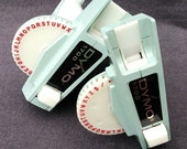 The Dymo vintage twins. Pair of retro turquoise embossing tools.