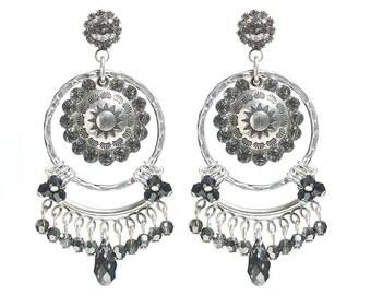 Swarovski crystal earrings - Long dangle earrings - crystal navette ear studs - Swarovski crystal beads earrings - black rhinestone earrings