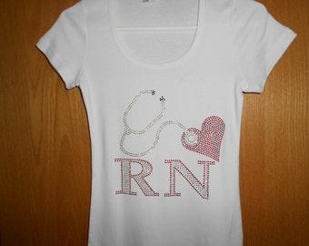 Nurse R N Adult  Rhinestone T Shirt