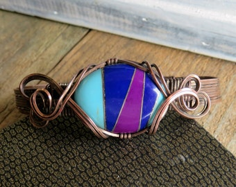 Copper Wire Bracelet - Wirework Bracelet Bohemian Bracelet for Women - Resin Wirework Bracelet - Arthritis Bracelet for Her