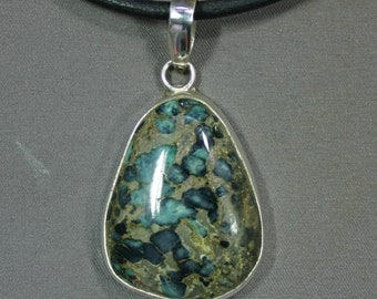 Turquoise and sterling Black Stallion pendant,  JS-pd-060