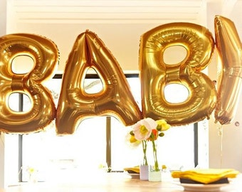 "40"" JUMBO OH BABY Balloons Balloon Letter Balloons Gold Rose Gold or Silver Baby Shower New Baby Boy Girl Photo Prop Welcome Baby Gender"
